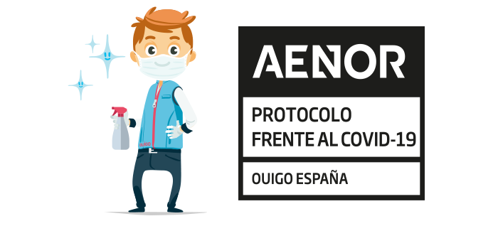 OUIGO obtiene el certificado de AENOR por sus protocolos de seguridad e higiene frente al COVID-19