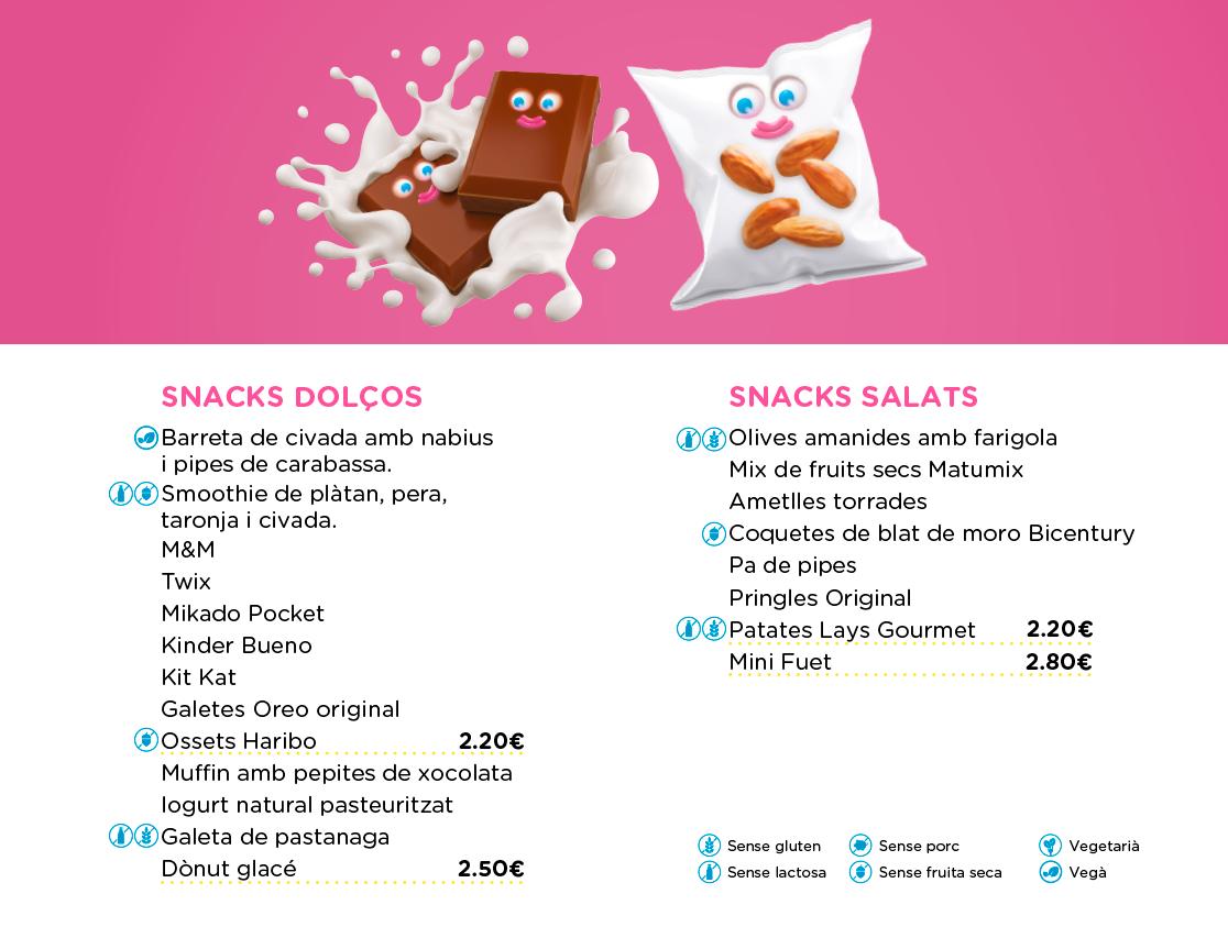 productes dolços i salats menú OUIBAR